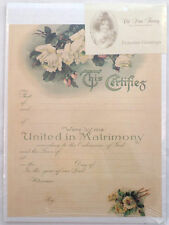 Turn of the Century Wedding Certificate Marriage Old Print Factory