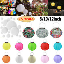 8/10/12in LED Solar Chinese Lantern Lights Outdoor Wedding Party Hanging Decor
