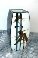 """Japanese  Toyo Bamboo Flower Hand Painted Square Vase 7"""" tall 3"""""""