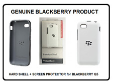 Genuine BlackBerry Q5 White Premium Hard Shell Case Cover & Screen Protector