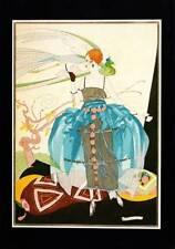 ORIGINALE VINTAGE ART DECO FASHION stampa UMBERTO BRUNELLESCHI blu gonna in chiffon