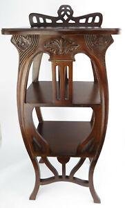 Blumentisch Beistelltisch Telefontisch Säule antik Jugendstil mahagoni Barock