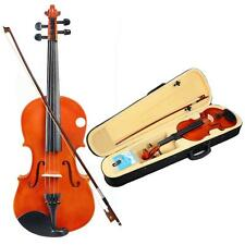 4/4 Full Size Natural Acoustic Violin Fiddle with Case Bow Wood Color New-CA,US