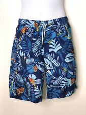 Lands End Boys Blue Jungle Animal Print Swim Trunks Swimsuit Sz 14-16