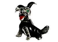 GORGEOUS VINTAGE Small Cute Dog Silver Tone Enamel Marcasite Brooch Emerald Eyes