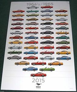 RARE LOT OF 2 FORD MUSTANG 50TH ANNIVERSARY DEALERSHIP ONLY POSTER! 2 FT x 3 FT
