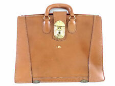 """Vintage 1950's Tan Leather Doctor Lawyer Scholar Briefcase """"US"""" Yale Lock"""