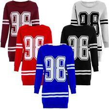 Ladies Oversized Long Sleeve 98 Print Thermal Sweatshirt Jumpers