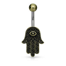 Antique Gold Plated Hamsa 316L Surgical Steel Belly Bar / Navel Ring