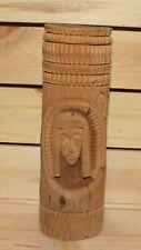 Vintage folk hand carving wood candle holder