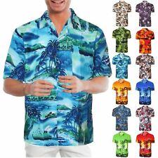 Hawaiian Mens Shirt Floral Rockabilly Surf Beach Party Holiday Stag Dance Blue Sunset XXXL