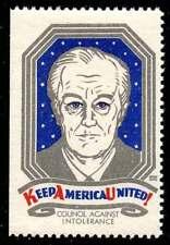 USA - Patriotic Poster Stamp - Council Against Intolerance 1945 FDR -  Bernhard