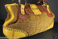 SUPER GORGEOUS !!! GIANFRANCO FERRE WOVEN LEATHER STUDDED LARGE BAG YELLOW&BROWN