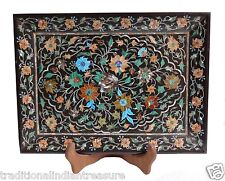 """12""""x10"""" Black Belgium Marble Tray Multi Marquetry Inlay Floral Arts Gift Decor"""