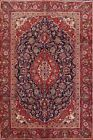 Vintage Traditional Floral Navy Blue Ardakan Room Size Area Rug Hand-made 6'x10'