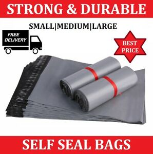 Grey strong mailing mixed bags plastic postal mail postage poly 1 - 2000 M.BAGS