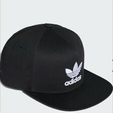 Embroidered Adidas Trefoil Flat Cap Black With White Logo : One Size Fits Most
