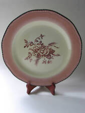 "Wood & Sons Pink Antique Rose 10 1/2"" Ceramic Dinner Plate Reproduction England"