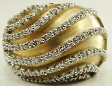 Verigold Sterling Silver Diamond Wave Dome Ring Vermeil Accents Size 8.25 JWBR