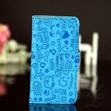 Samsung Galaxy S Duos s7562 Flip Pouch Case Cover Folding Pouch Comic Light Blue