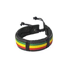 Reggae Jamaican Marley Peace Black Leather Friendship Wristband Bracelet NEW