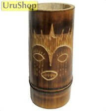 M84 NATURAL CANE / BAMBOO MATE CUP WITH GUARANI MASK ENGRAVING - FOR YERBA MATE