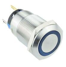 LED blu illuminato Angel Eye 19mm 12V Interruttore Momentaneo SPST