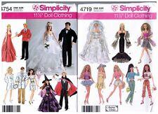 """Simplicity 4719 & 4754 Barbie & Ken 11 1/2"""" Doll Clothes Pattern s Vintage Uncut"""