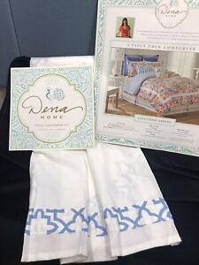 "Dena Home CHINOISERRIE GARDEN Twin Bedskirt 15"" drop WHITE BLUE BORDER - NEW"