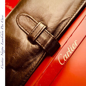 CARTIER PARIS NAPPA SUPER SOFT LEATHER LAMBSKIN TRIFOLD VINTAGE TRAVEL PEN CASE