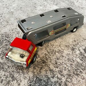 Vintage 1970's Red Tonka Semi-Truck with Silver Car Carrier Hauler Pressed Steel