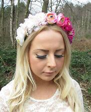 Pink Blush Gradient Rose Flower Garland Headband Hair Crown Festival Boho 2215