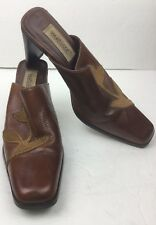 Matisse Leather Mules Shoes Heels Flower Accent Brown Women's Size 7.5 M