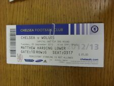 25/09/2012 Ticket: Chelsea v Wolverhampton Wanderers [Football League Cup] (fold