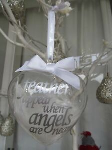 FEATHERS APPEAR WHEN ANGELS ARE NEAR BABY GLASS HEART HANGINGDECORATION KEEPSAKE