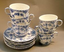 6 coffee cups w saucers Royal Copenhagen Blue Fluted Full Lace 1035  Factory 1st