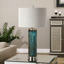 Aqua Ocean Blue Glass Table Lamp | Twisted Bronze Contemporary
