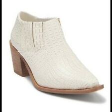 Seven7 White Snakeskin Ankle Boots Cowgirl Pointed Toe Shoes Size USA6 BRAND NEW