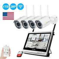 4CH WIFI 12'' Monitor NVR 1TB 1080P Wireless Security Camera System Outdoor CCTV
