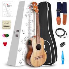 """21"""" Soprano KOA Electric Acoustic Ukulele Hawaiian Guitar From US"""