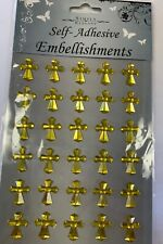 Religious Cross Design Acrylic Stickers Gold Color, 60 Ct.