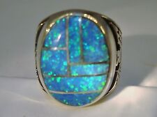 HUGE Fire Opal mens ring 11  Rare Sky Blue Silver 925 Thunderbirds Sterling 925