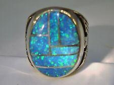HUGE Fire Opal mens ring 11  Rare Sky Blue Silver 925 Thunderbirds Sterling 925