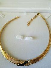 CRISTIAN DIOR Vintage Necklace Choker Gold Plated Rhinestone Enamel