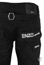 Mens Designer Style Enzo Jeans Ez243 Straight Leg Black
