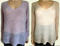 New Ex M&S Ladies Lilac Apricot Mohair Mix Lightweight Casual Jumper Size 8 - 22