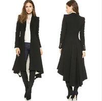 Vintage Womens OL Swallow Tail Trench Long Wool Blend Jackets Windbreaker Coat##