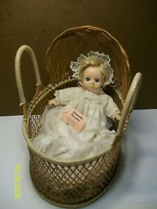 Vintage (Show Stoppers) Porcelain Doll and Wicker Bassinet~with Tag~Hand Painted
