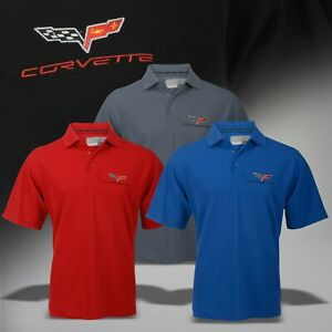 2005-2013 C6 Men's Polo Shirt Corvette & Crossed Flags Callaway Dry Core 637053
