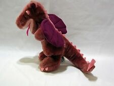 "Dakin Dragon Plush Stuffed Animal Vintage 9"" Toy 1983 Korea Maroon Cute"
